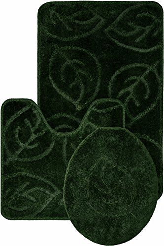 Homemusthaves 3 Piece Bath Rug Set Leaf Pattern Bathroom Rug Contour Lid Cover Dark Green With Images Patterned Bathroom Rugs Rugs Bath Rugs Sets
