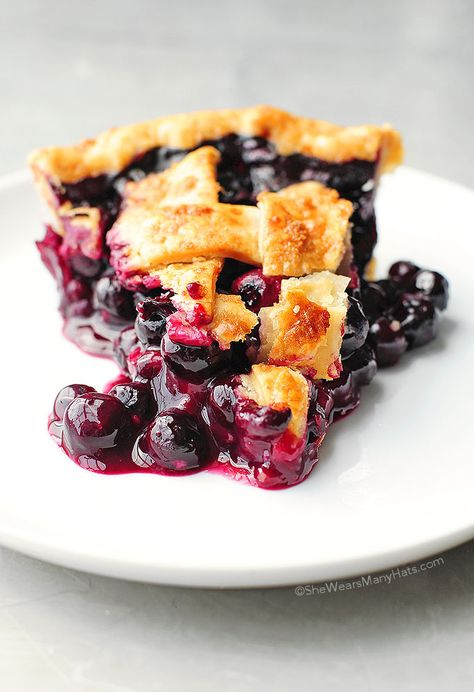 Easy Blueberry Pie   She Wears Many Hats #Blueberry #Pie #Summer #Easy