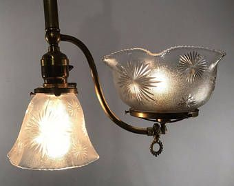 Antique Vintage Victorian Gas Electric Pendant Light Fixture Pressed Glass Period Shades Restored Gas Lights Home Lighting Lights