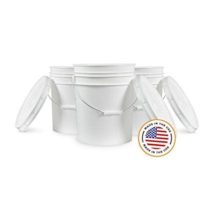 5 Gallon White Bucket Lid Durable 90 Mil All Purpose Pail Food Grade Bpa Free Plastic 5 Gal W Lids 6pk R Bpa Plastic Food Grade Buckets Food Grade