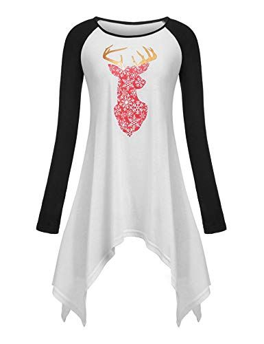 0c14968849f Great for Elesol Women's Christmas Reindeer Printed Blouse Raglan Sleeve  Tops T-shirt Tunics Women fashion Tops. [$18.99 - 21.99] allfashiondress  from top ...