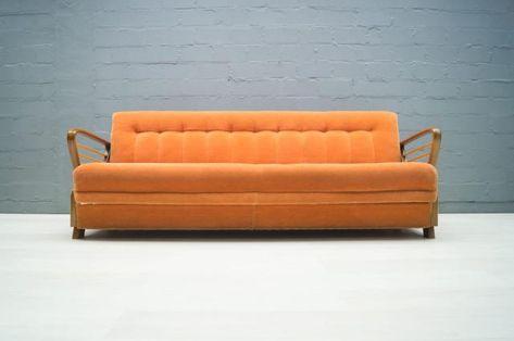 Divano Letto Vendita.Divano Letto Vintage Arancione Anni 50 In Vendita Su Pamono Con