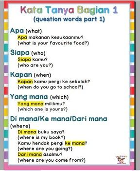 Poster Kata Tanya Bahasa indonesia (Indonesian question