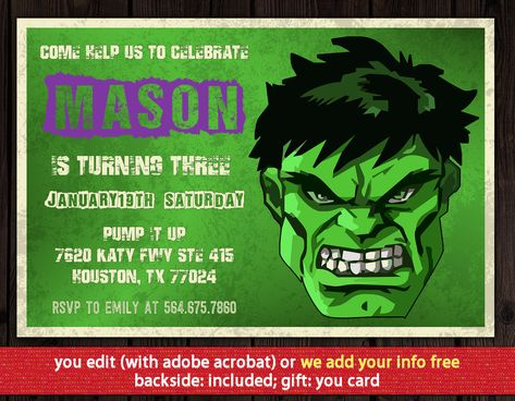 Hulk Invitation FREE Thank You Card Birthday Instant Download Party