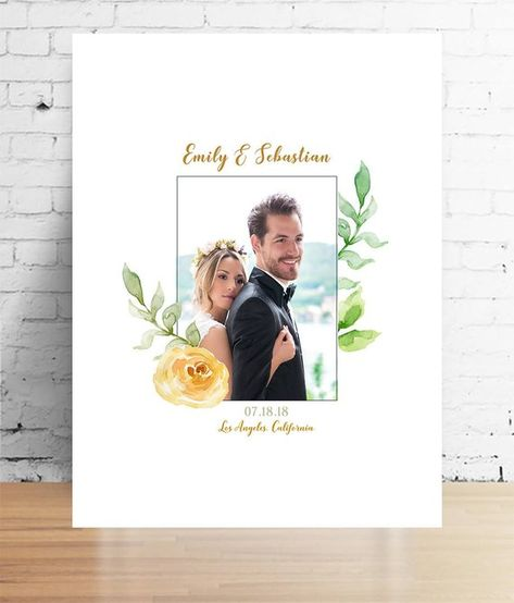 Large Mr and Mrs Surname Gift Present Personalised Wedding Engagement Print