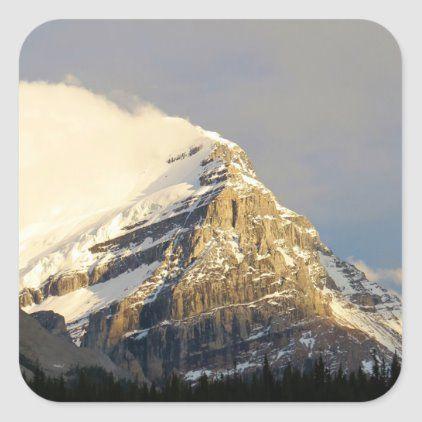 Clouds Roll Off Snowy Mountain In Canada Square Sticker Zazzle Com In 2020 Sunset Landscape Photography Mountain Photography Snowy Mountains