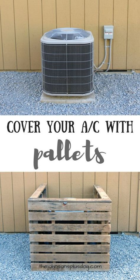 AC Unit Cover You Can Make In Just 45 Minutes With Pallets - This DIY pallet air conditioning cover couldn't be any easier. If you're looking for a quick wa - Ac Unit Cover, Ac Cover, Diy Pallet Projects, Home Projects, Backyard Pallet Ideas, Pallet Landscaping Ideas, Pallet Patio Decks, Pallet Ideas For Outside, Outdoor Projects