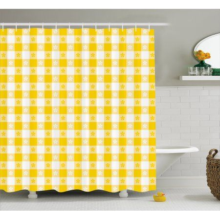 Yellow And White Shower Curtain Checkered Motif With Little