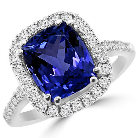 Jewel Zone US Sparkling Pear Cut Purple Cubic Zirconia Halo Engagement Ring in 925 Sterling Silver