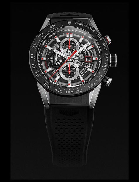 The @tagheuer Carrera Calibre Heuer 01 - at the heart of this new Carrera is a partially skeletonized evolution of the brand's in-house chronograph movement, Caliber 1887. #tagheuer #watchtime #chronograph #baselworld2015
