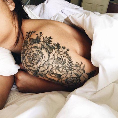 Floral tattoo on shoulder