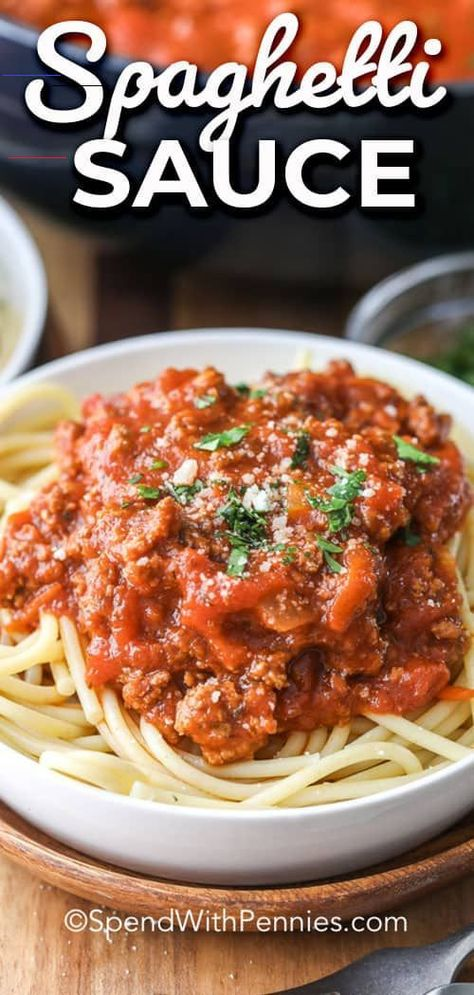 Homemade Spaghetti Sauce - Spend With Pennies This is the best spaghetti sauce recipe! Perfect for canning and for freezing! This recipe is filled with ground beef, Italian sausage, tomatoes, garlic and other delicious spices! #spendwithpennies #spaghettisauce #crockpot #easyweeknightmeal #homemade<br>