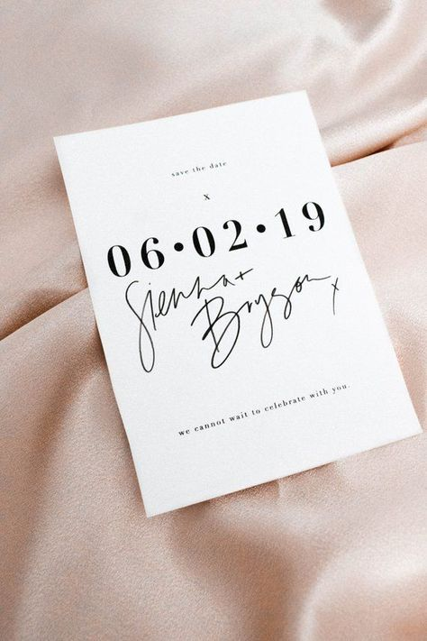 Stand out with these super modern hand lettered save the dates. They look great printed standard or letterpressed! Trendy and timeless all at the same time and perfect for your inner minimalist with a hint of romance. It's a save the date people will want to frame instead of put in their fridge!