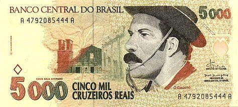 O Gaucho Cruzeiro Real Brasil Moedas Moedas