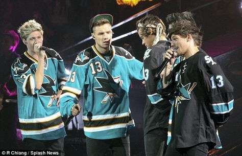 Feeling the love: One Direction wore San Jose Sharks ice hockey jerseys as they play at San Jose's SAP Center earlier this week One Direction Images, One Direction Wallpaper, I Love One Direction, Larry, Ice Hockey Jersey, San Jose Sharks, Thing 1, Team Shirts, 1d And 5sos