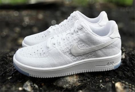 new product ace0b 6d4f0 NIKE AIR FORCE ONE AF1 ULTRA FLYKNIT LOW WHITE ICE 817419 100