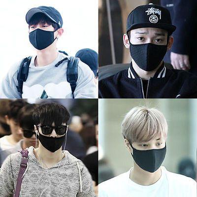 Exo Chanyeol Chen Lay Kai Black Kpop Mouth Mask Cotton Mouth Muffle Face Mask Kpop Face Mask Face Mask Everyday Fashion