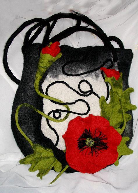 Felted Bag Poppieshand craftedfresh summer by LanaDiNata on Etsy