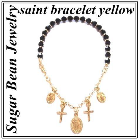 sugarbeanjewelry シュガービーンジュエリー アメリカ デザイン セイント ブレスレット イエロー クロス チェーン バングル ブレスレ 海外 ブランド