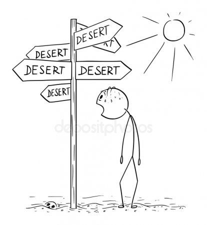Vector Cartoon Of Exhausted And Thirsty Man Walking And Found Signpost With Dese Affiliate Exhausted Stick Figure Drawing Conceptual Illustration Cartoon