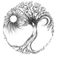Ideas Celtic Tree Of Life Tattoo Awesome Tree Of Life Art, Celtic Tree Of Life, Tattoo Life, Tattoo Moon, Roots Tattoo, Tree Of Life Tattoos, Tattoo Circle, Sol Y Luna Tattoo, Trendy Tattoos
