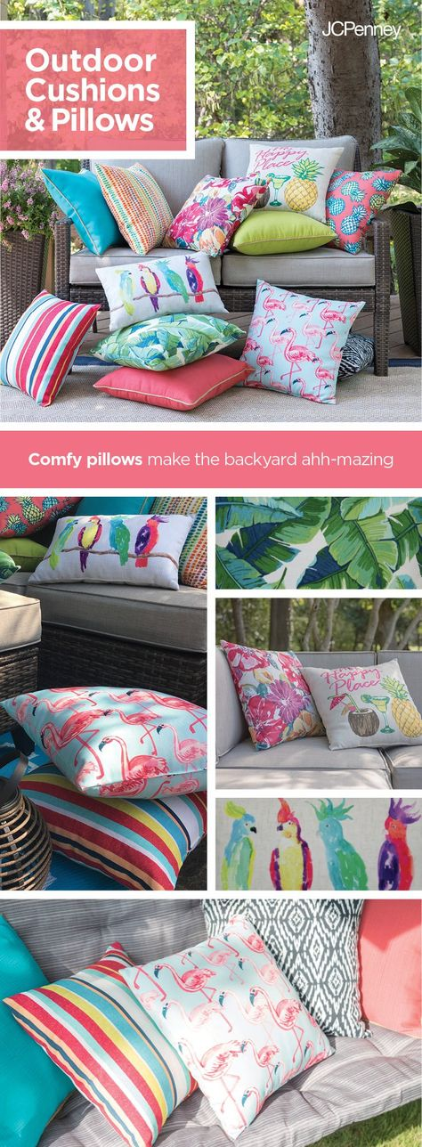 Give your backyard an update on a budget. Durable outdoor furniture can easily be updated each season by simply switching out the outdoor cushions and pillows. Colorful pillows in pink, yellow and green will instantly make your patio spring ready. With all-weather fabrics in bright prints, outdoor pillows also work well indoors. Try them in a sun room or dining area or your front porch. Find cushions and pillows for any indoor or outdoor space at JCPenney.
