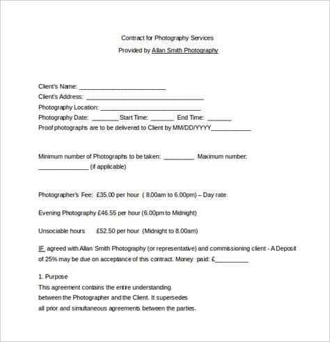 Free Photography Contract Written by a Lawyer More interested in - photography contract template
