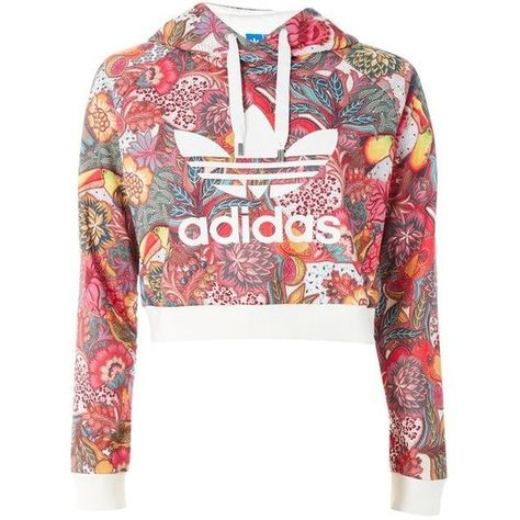 e794f07137c3 Floral Hoodie by Adidas Originals ( 62) ❤ liked on Polyvore featuring tops