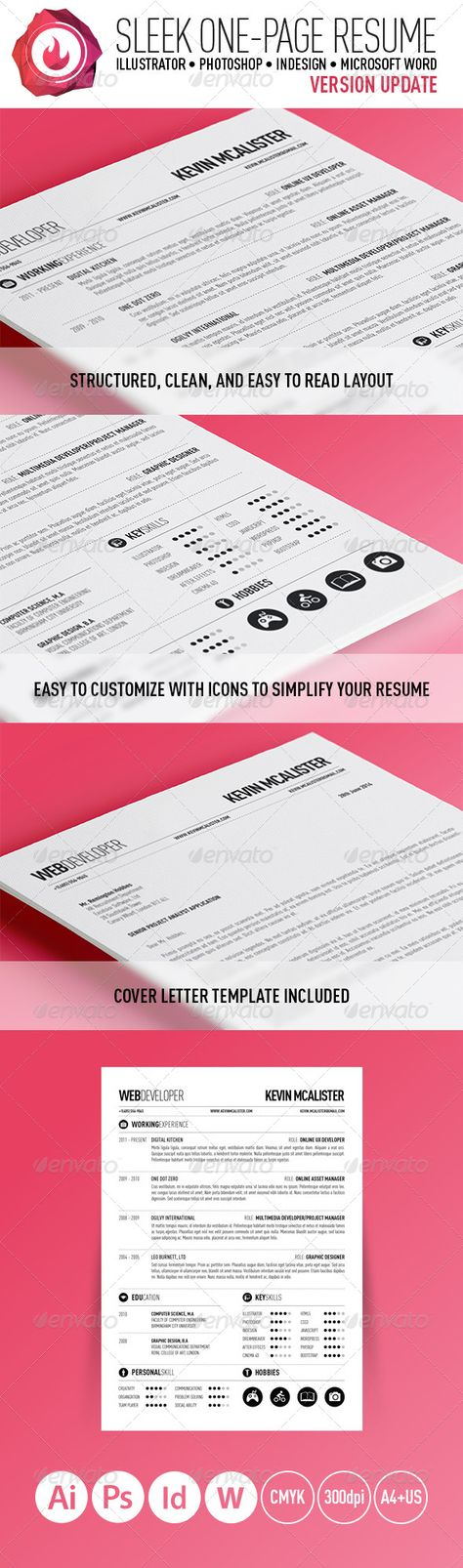 Sleek One-Page Resume Resume cv, Psd templates and Cv design - single page resume