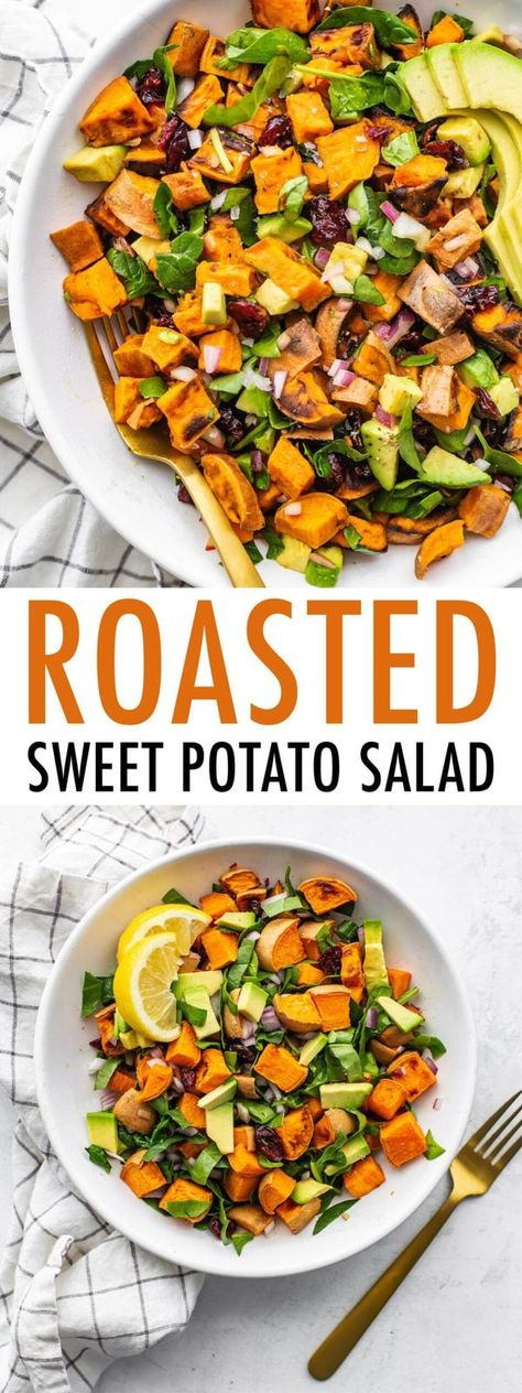 Healthy Roasted Sweet Potato Salad with Spinach   Skip the white potatoes and make this roasted sweet potato salad instead! It has chopped spinach, creamy avocado chunks, red onion and dried cranberries so it's light, refreshing and perfect for BBQs, potlucks and parties. #eatingbirdfood #potatosalad #sweetpotato #spinachsalad #cranberries #cleaneatingsalad #sweetpotatosalad #picnicfood #potluckrecipes #cookoutrecipes