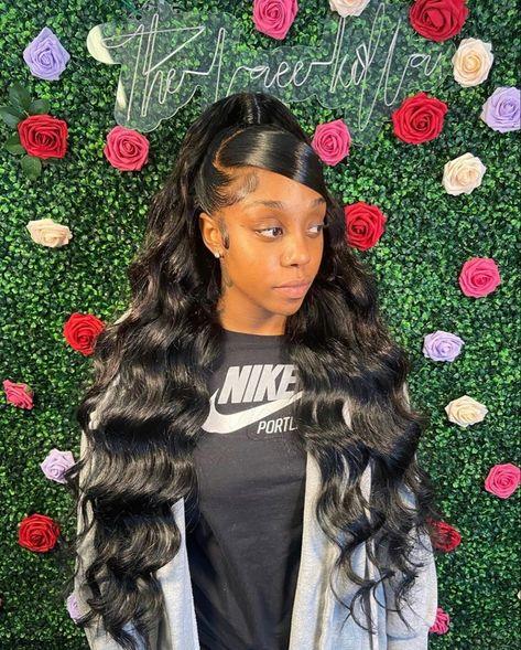 Hair Ponytail Styles, Weave Ponytail Hairstyles, Black Girl Braided Hairstyles, Baddie Hairstyles, Colored Weave Hairstyles, Straight Weave Hairstyles, Black Women Hairstyles, Braids For Black Hair, Black Girl Braids