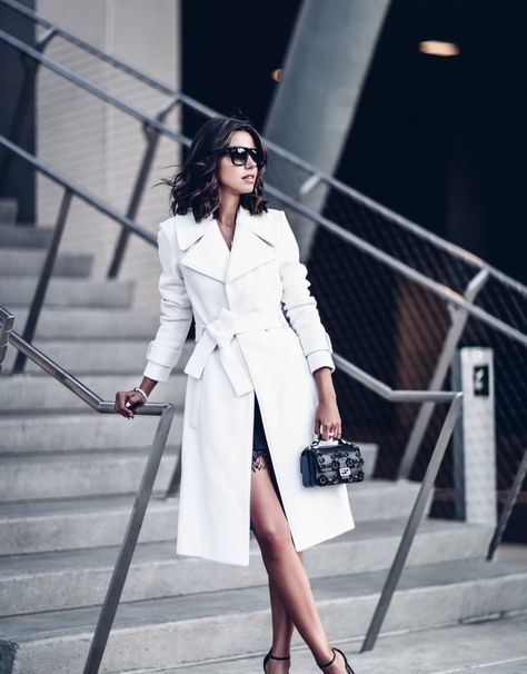 A bright white trench + absolute statement + endless glamour + skirt + trousers + dress + wonderful, elegant aesthetic + Annabelle Fleur. Coat: A.C Richard, Dress: Jamie, Heels: Gucci….