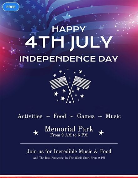 Free Simple 4th of July Flyer Holiday Flyer Templates Flyer