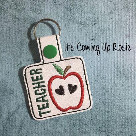 Teacher Apple Keychain  Zipper Pull  Snap Tab by ItsComingUpRosie
