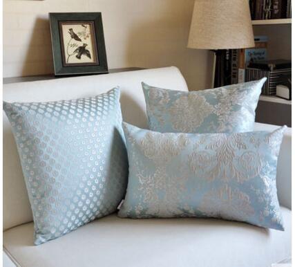 European Style Classic Jacquard Pillowcase Light Blue Floral Cushion Cover Sofa Lumbar Pillow Cover Home Decor Podushki Cvetochnaya Podushka