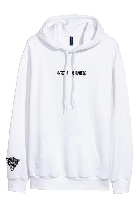Hooded Sweatshirt | White | MEN | H&M US | Sweatshirts