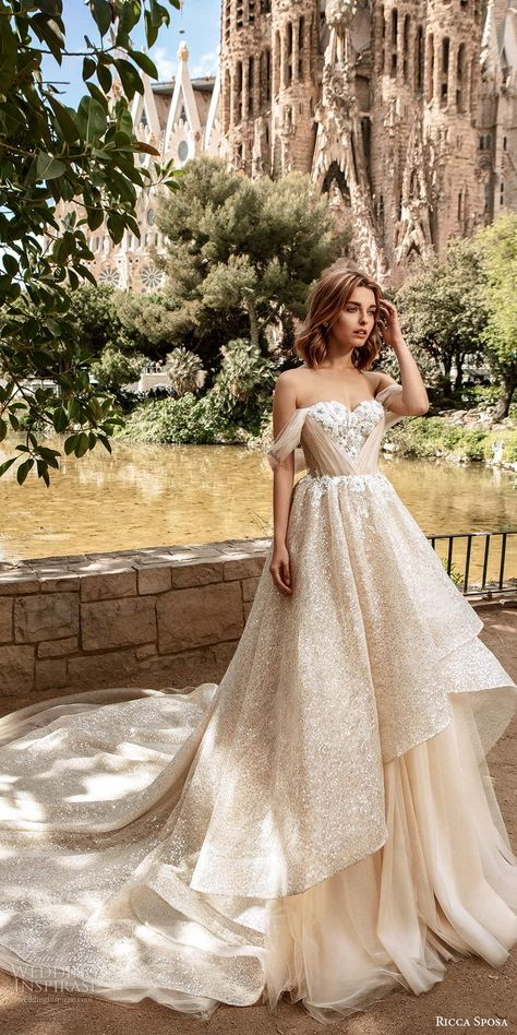 ricca sposa 2020 barcelona bridal off shoulder sweetheart neckline ruched bodice fully embellished romantic glitzy a line ball gown wedding dress v back cathedral train (1) mv -- 20 Bridal Collections You Loved This Year   Wedding Inspirasi  #wedding #weddings #bridal #weddingdress #weddingdresses #bride #fashion #2019trends #2020trends #trends #week:522019 #year:2019 ~