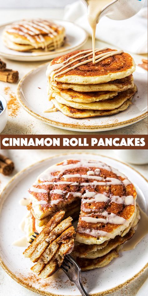 Cinnamon Roll Pancakes -a tender fluffy homemade pancake swirled with buttery cinnamon and sugar and drizzled with a maple coffee glaze.