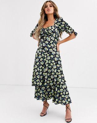 Asos Design Grunge Floral Maxi Tea Dress With Tie Front Tea Dress Dresses Floral Maxi