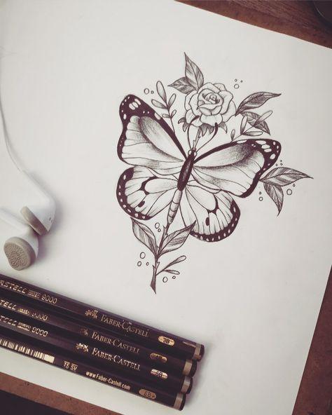 #borboletatattoo #tattoo #tatuagemdelicada #inspirationtattoo #rosetattoo