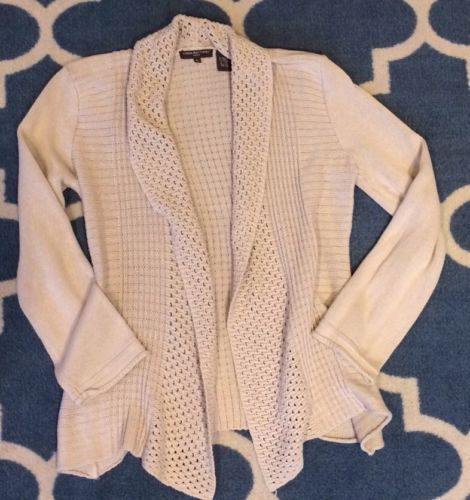 Womens Linda Matthews Beige Tan Knit Open Front Cardigan Sweater ...