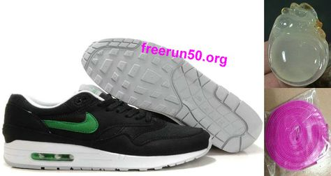 save off 22961 394a5 Mens Nike Air Max 1 Black Victory Green White Shoes