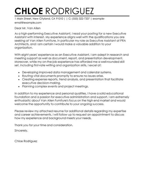 Best Executive Assistant Cover Letter Examples | LiveCareer
