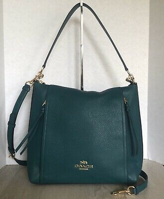 Coach F79994 Marlon Hobo Bag Viridian Green Refined Pebble Leather ...