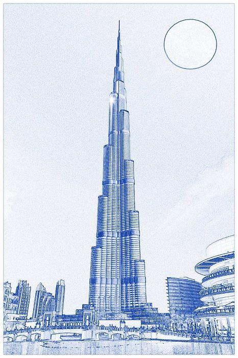 Blueprint Drawing Of Burj Khalifa Emirates Dubai 2s By Celestial Images In 2021 Dubai Art Blueprint Drawing Architecture Drawing Sketchbooks