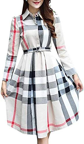 Shop a great selection of FashionRun Womens Slim Plaid Long Sleeve A-Line Midi Swing Dress Belted. Find new offer and Similar products for FashionRun Womens Slim Plaid Long Sleeve A-Line Midi Swing Dress Belted.