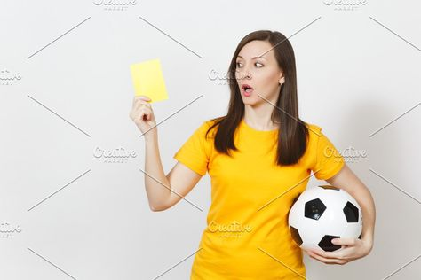 European Serious Severe Young Woman Football Referee Or Player In Yellow Uniform Showing Yellow Card Holding Soccer Ball Isolated On White Background Sport P Football Referee Soccer Ball Referee