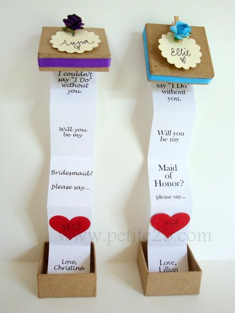ONE (1) - Pop Up message in a box - Will you be my bridesmaid, bridesmaid invitation, maid of honor,