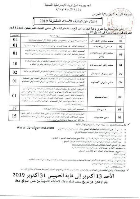 اعلان توظيف بمديرية التربية للجزائر العاصمة شرق أكتوبر2019 Sheet Music Person Alger