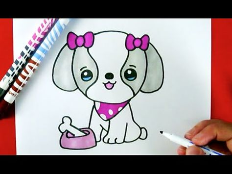 How To Draw A Cute Puppy With A Love Heart Youtube